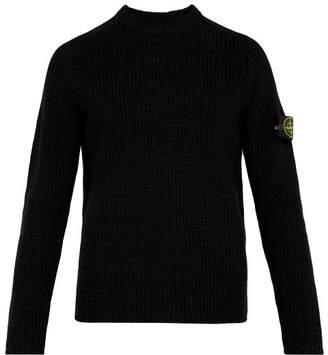 Stone Island Fisherman Knit Cotton Sweater - Mens - Black
