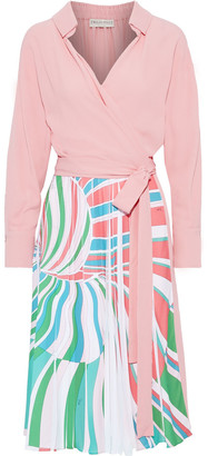 Emilio Pucci Wrap-effect Pleated Printed Silk-blend Crepe Dress