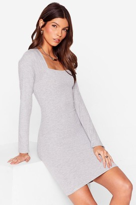 Nasty Gal Womens At Your Square Neck and Call Ribbed Mini Dress - Grey
