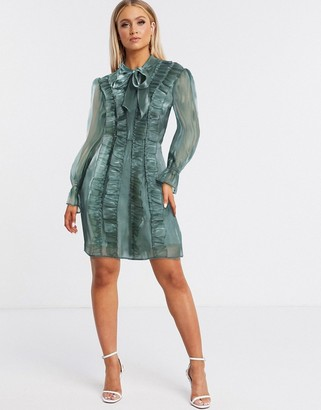Pretty Darling pussy bow ruffle shirt dress