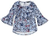 Takara Big Girls 7-16 Floral-Print Bell-Sleeve Top