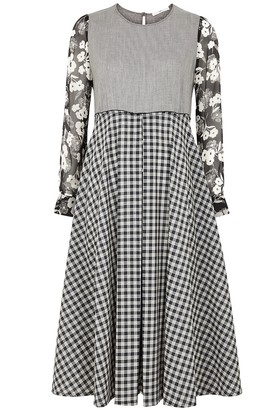 High Thrilled panelled wool and silk midi dress