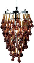 Eurofase 12260-027 Vidal 100-Watt 1-Light Chrome Pendant with Amber Crystals