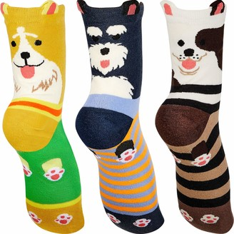 Syhood 3 Pairs Women Funny Animal Sock Fluffy Socks for Women and Girls Cotton Dog Pattern Socks Soft Fuzzy Slipper Socks Thick Warm Sleeping Socks