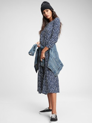 Gap Three-Quarter Sleeve Flounce Midi Dress