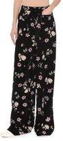Valentino Floral-Print Silk Pajama Pants, Black