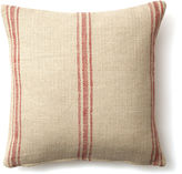 French Laundry Home Striped 20x20 Linen-Blend Pillow, Red