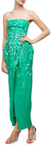 Monique Lhuillier Strapless Floral-Embellished Gown, Spring Green