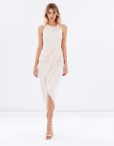 Shona Joy Core High-Neck Ruched Draped Dress
