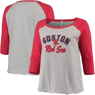 Women's Soft as a Grape Heathered Gray/Red Boston Red Sox Plus Size Baseball Raglan 3/4-Sleeve T-Shirt