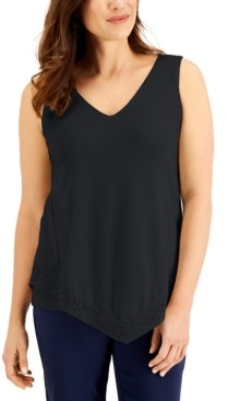 JM Collection Lace-Trimmed Tank Top, Created for Macy's