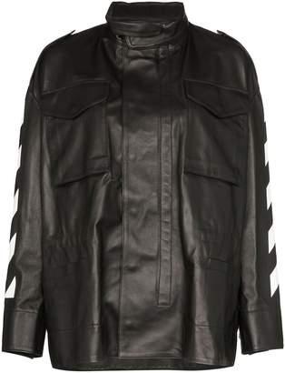 Off-White logo print high neck oversized leather jacket