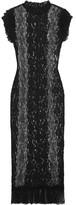 Dolce & Gabbana Ruffled Stretch-lace Midi Dress - Black