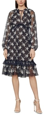 BCBGMAXAZRIA Embroidered Mesh Dress