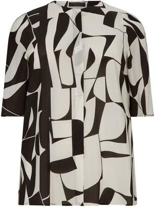 Marina Rinaldi Geometric Jacquard Duster Coat