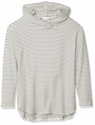 Daily Ritual Women's Supersoft Terry Long-sleeve Hooded Pullover Shirt stripe black/white skinny stripe XXL