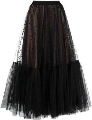 Parlor Sheer Panel Polka-Dot Midi Skirt