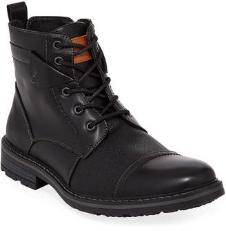 Robert Wayne Men's Jefferson Mixed Leather Combat Boots
