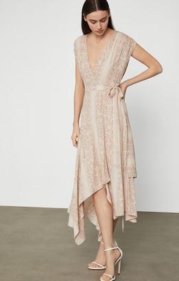 BCBGMAXAZRIA Crepe Python Wrap Dress