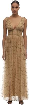 Maria Lucia Hohan Tayla Beaded Tulle Midi Dress