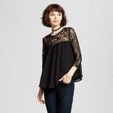 K by Kersh Women's Lace Babydoll Top Black