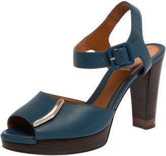 Fendi Blue Leather Metal Logo Embellished Open Toe Platform Block Heel Ankle Strap Sandals Size 40