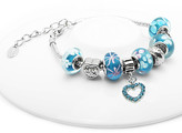 Swarovski Golden Moon Women's Bracelets Light - Blue & Stainless Steel Heart Beaded Bracelet With Crystals