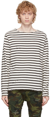 R 13 Black and Off-White Breton Long Sleeve T-Shirt