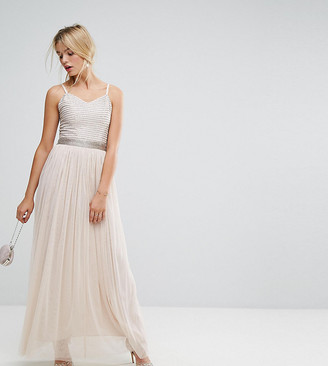 Amelia Rose Maxi Cami Strap Dress with Tulle Skirt and Embellished Upper-Brown