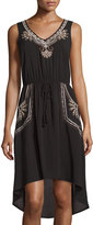 Neiman Marcus Sleeveless Embroidered High-Low Dress, Black/Neutral