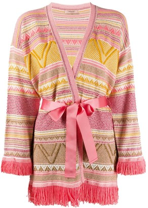 Twin-Set Geometric Pattern Cardigan