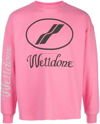 we11done Logo Print Crewneck Sweatshirt