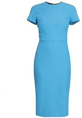 Victoria Beckham Short-Sleeve Fitted Sheath Dress