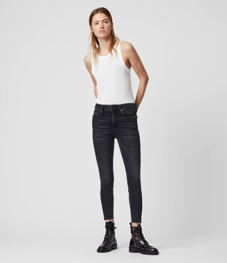 AllSaints Dax Ministud Cropped High-Rise Superstretch Skinny Jeans, Rock Black