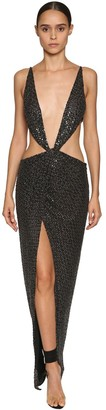 Julien Macdonald SLEEVELESS BEAD EMBELLISHED NYLON DRESS