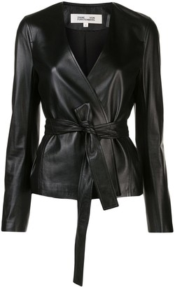 Dvf Diane Von Furstenberg Faux-Leather Wrap Front Jacket