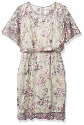 Brianna Women's Blouson Dress with Flower Embroidery