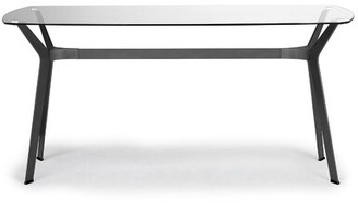Wrought StudioTM Strawser Home Archtech Modern Dining Table Wrought Studio Top Color: Clear, Base Color: Black