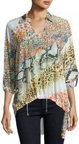 Alberto Makali High-Low Graphic-Print Blouse, Orange Pattern