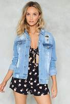Nasty Gal Baby Got Back Distressed Denim Jacket