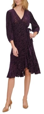 Calvin Klein Burnout Zebra-Print Ruffle-Trim Dress