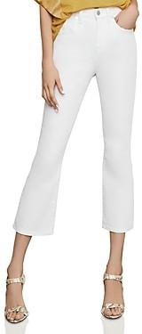 BCBGMAXAZRIA High-Rise Cropped Bootcut Jeans in Optic White