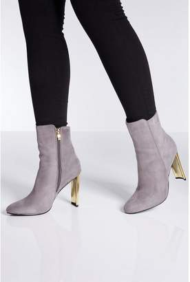Quiz Grey Faux Suede Gold Skinny Heel Ankle Boots