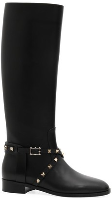 Valentino Rockstud Leather Riding Boots