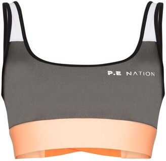 P.E Nation Side Runner colour-block sports bra