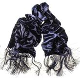 Black Navy Velvet Devore and Silk Satin Evening Dress Scarf