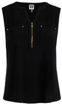 Anne Klein Plus Size Zip-Front Utility Top