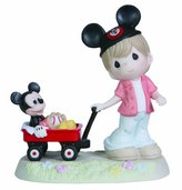 Precious Moments Disney Boy Pulling Mickey in Wagon Figurine