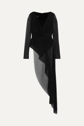 Talbot Runhof Babylone Asymmetric Draped Metallic Voile Bodysuit - Black