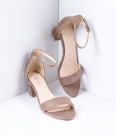 Unique Vintage Taupe Brown Suede Sandal Ankle Strap Heel
